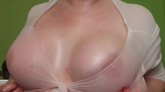 huge hooters oiled dildo
